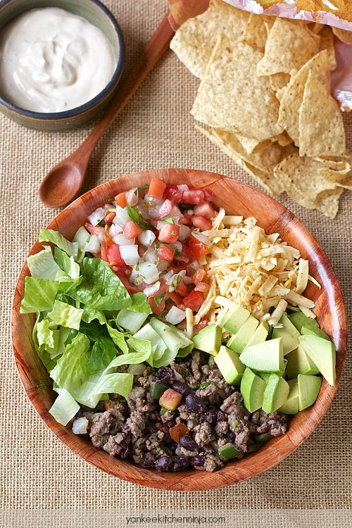 healthy 10 minute taco salad from Yankee Kitchen Ninja