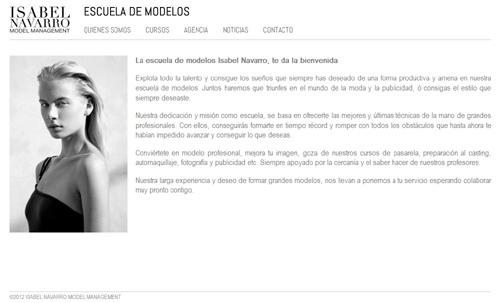 página web de Escuela de Modelos Isabel Navarro