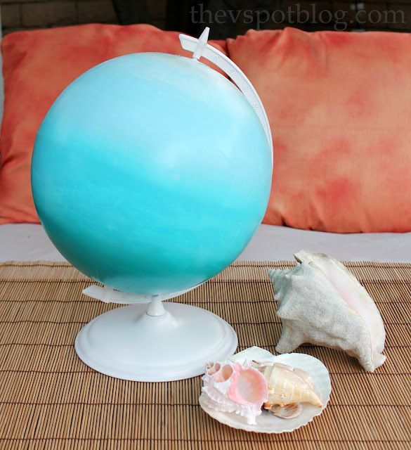 Ombre Painted Globe via The V Spot Globe, featured at Spool and Spoon