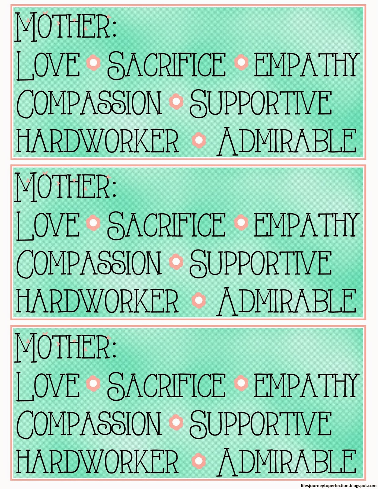 Life\'s Journey To Perfection: Some More Mother\'s Day Printables