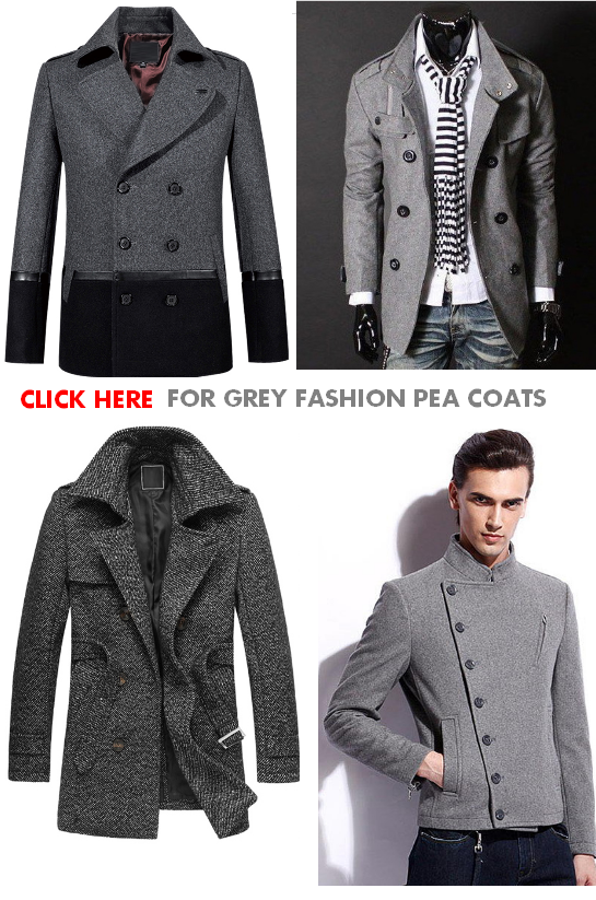 Grey Pea Coats For Men