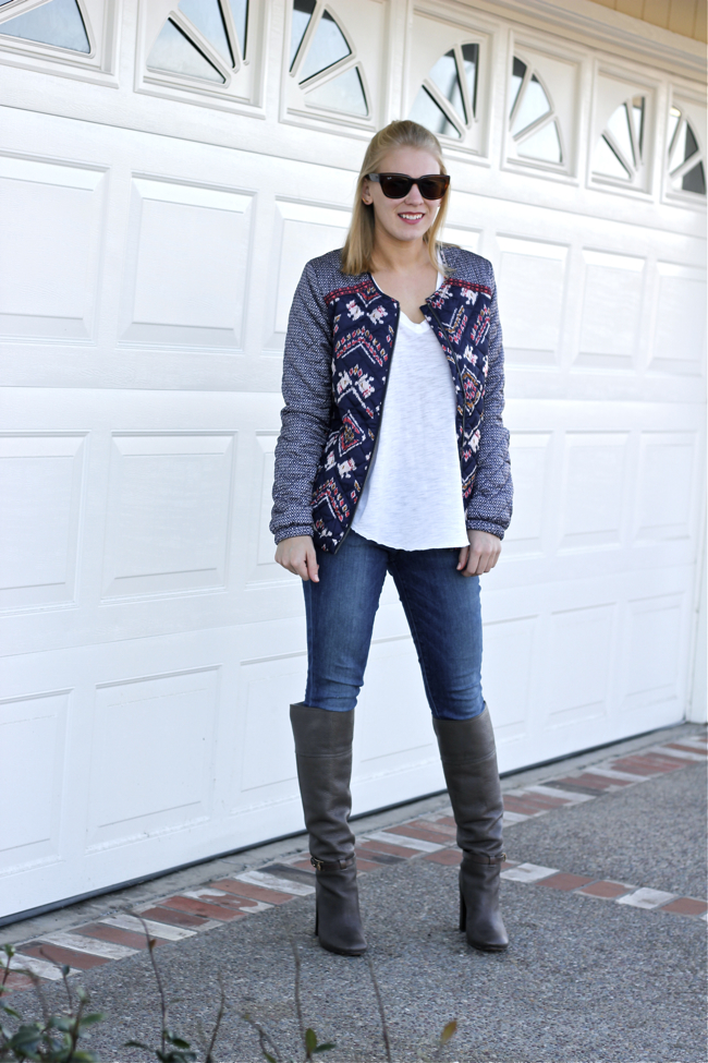OC blogger, Current Habits, outfit, style, bomber jacket, Roxy, pattern