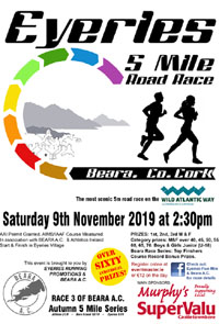 Nice scenic 5 miler in W Cork - Sat 9th Nov 2019