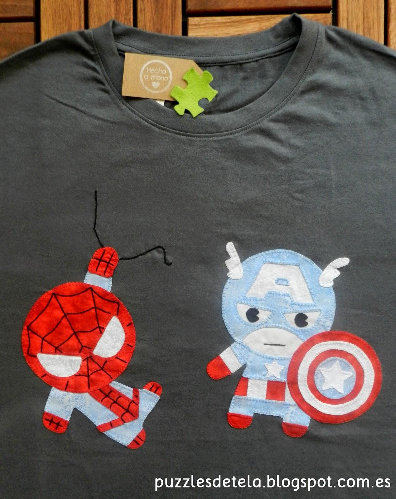 Salón del Cómic, Super mini héroes, Super héroes, superheroes, patchwork, super mini héroes patchwork, Spiderman, Capitán América, Camisetas super héroes patchwork, camisetas super héroes