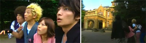 Masumi, Mine, Nodame and Chiaki gape at Sakura's mansion