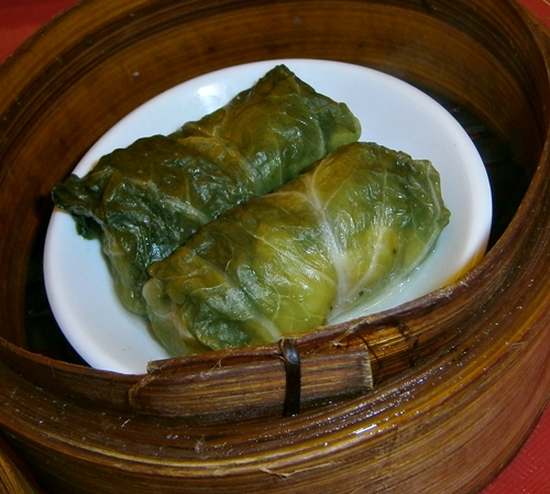 Empress roll siomai shaomai wrapped in vegetable leaves