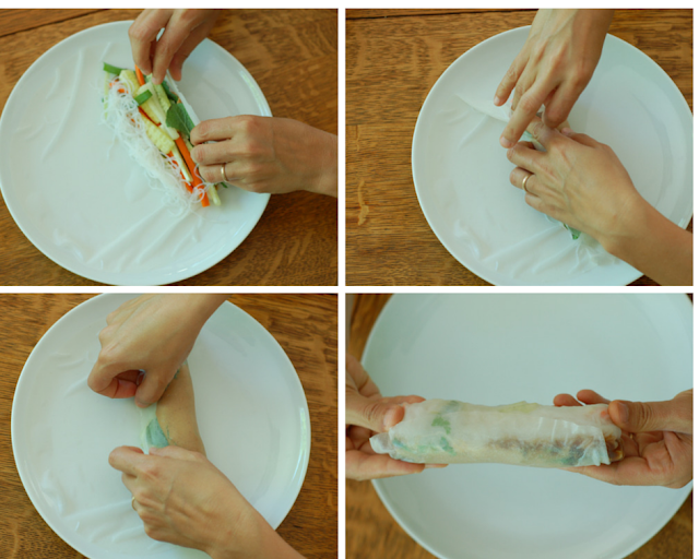 Rolling up a fresh spring roll