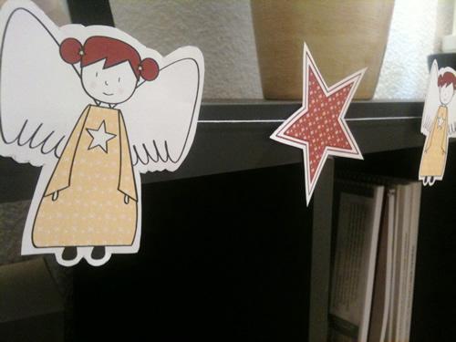 Manualidades guirnalda de navidad con angelitos y estrellas - Guirnaldas navidad manualidades ...