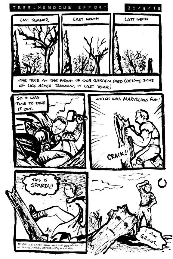 Comic about digging out the root of a dead tree, referencing marvel superheroes Thor, Hulk and Groot