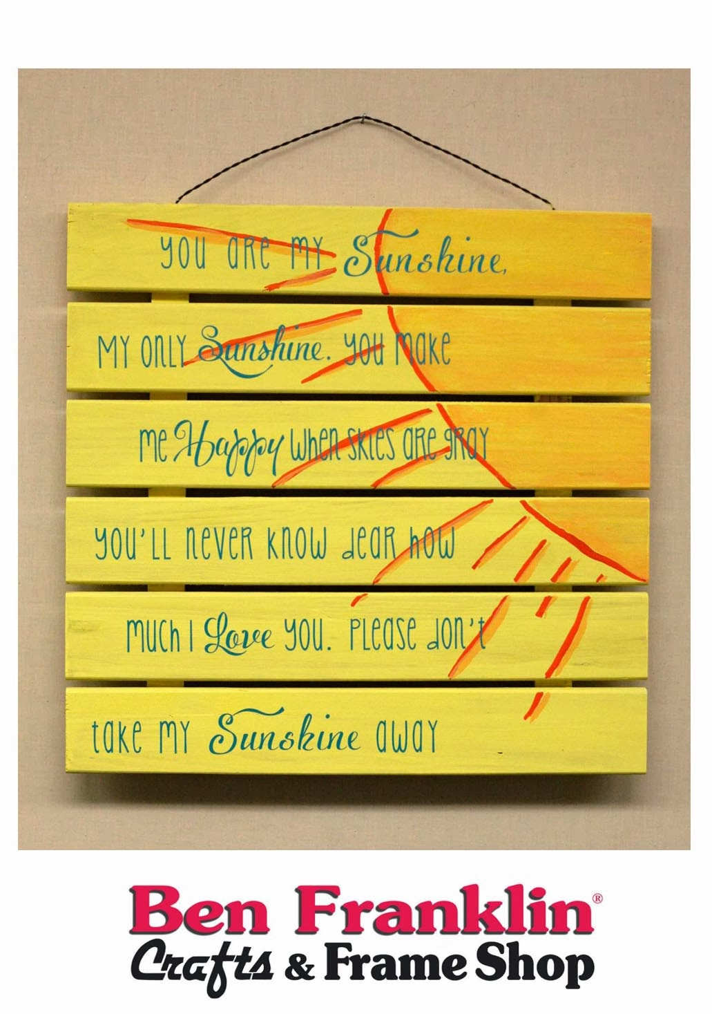 ben franklin crafts and frame shop you are my sunshine wooden sign - You Are My Sunshine Frame