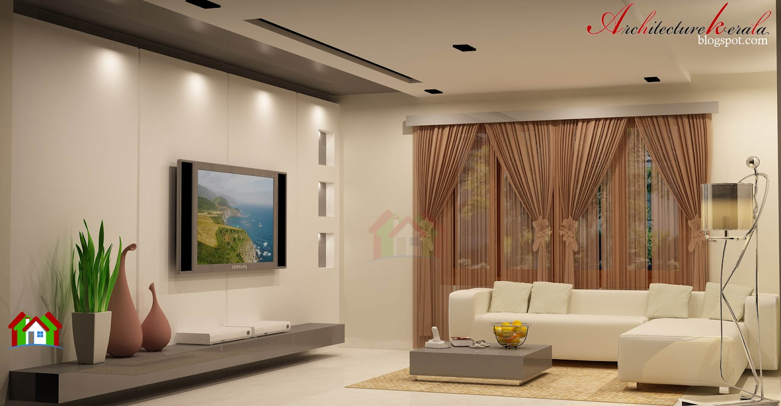 Interior design of living room architecture kerala for Kerala house living room interior design