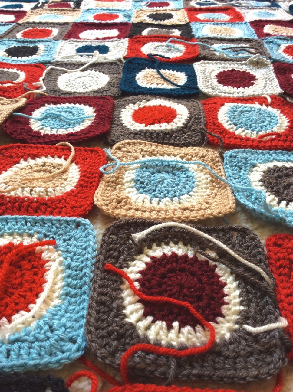 Häkeldecke, Kreise im Quadrat,  Crochet Babyplaid,  Anton Circles in-a-Square, Crochet-Patchwork,
