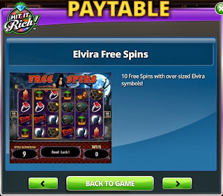 First free spins screenshot at Elvira Slots