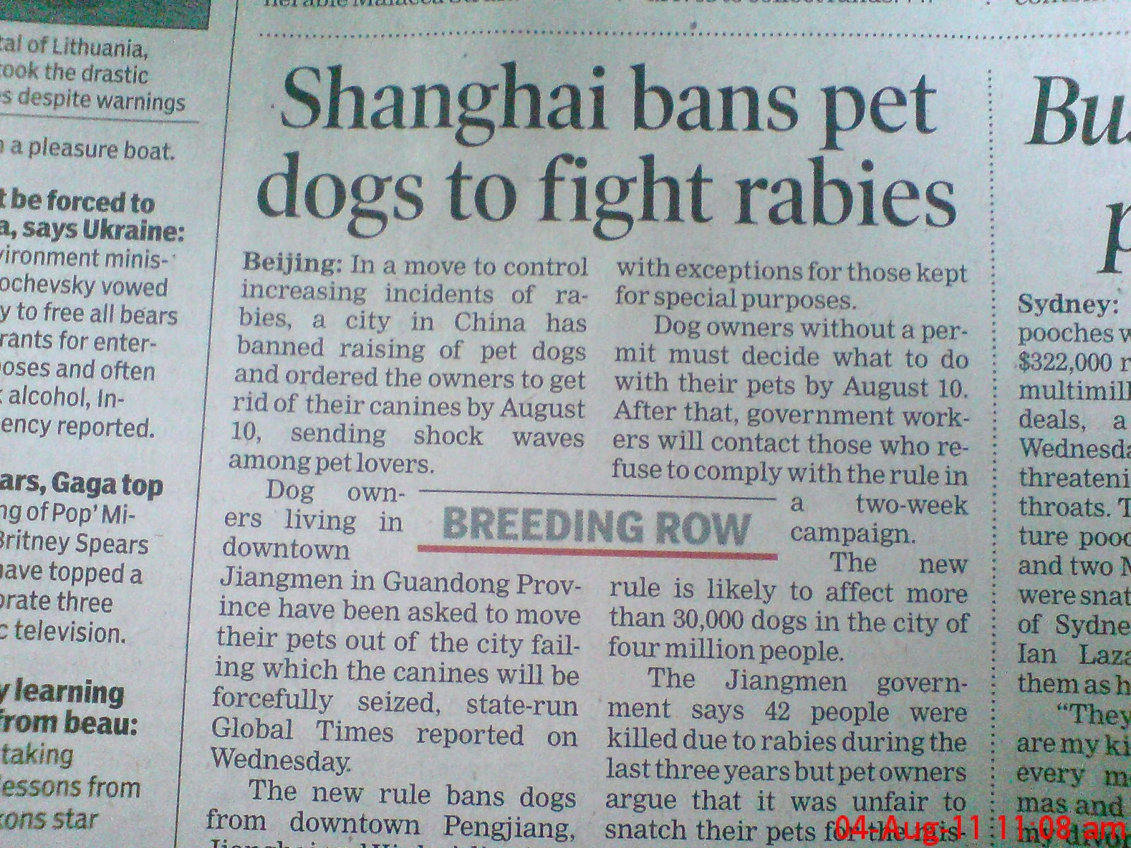 Shanghai bans pet dogs to fight rabies.