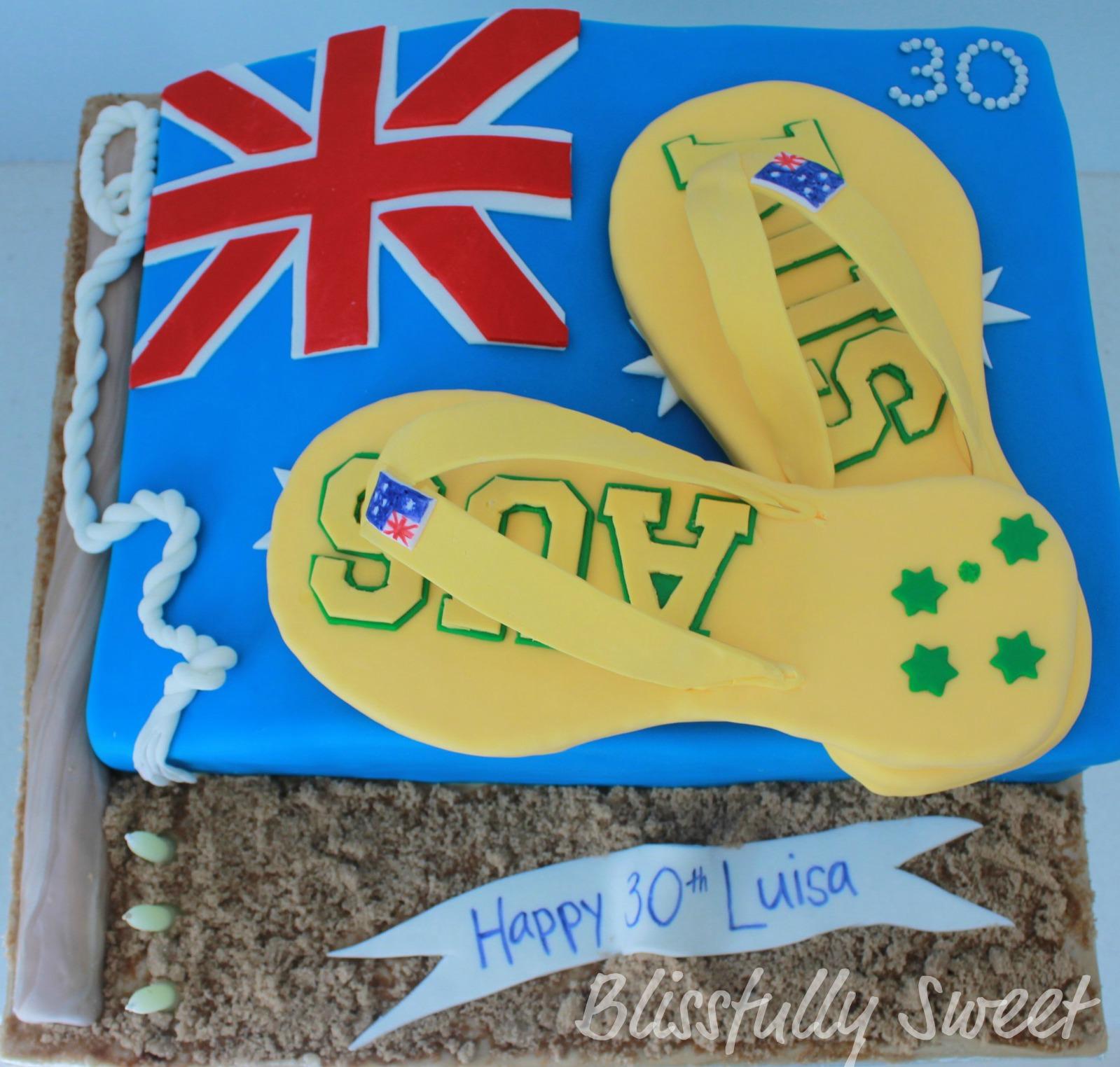 Blissfully Sweet Aussie Aussie Aussie 30th Birthday Cake