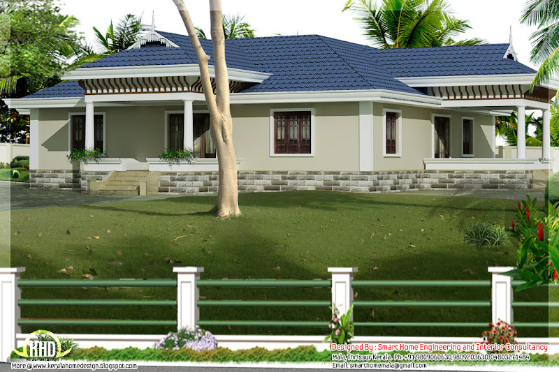 Kerala style single story 3 bed room villa with Nadumuttam title=