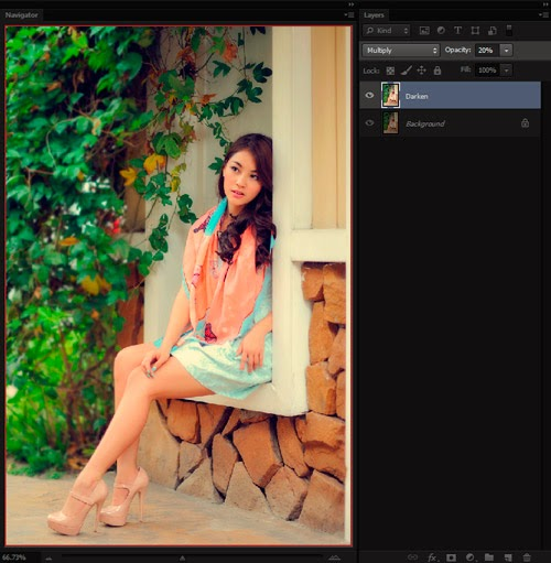Duplicate Background Blending Layer Mode Multiply 20 Persen