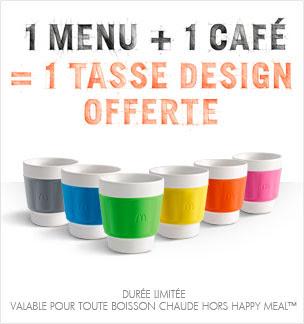 McDonald's vous offre 1 tasse design pour tout menu accompagné d'un café bon plan macdo
