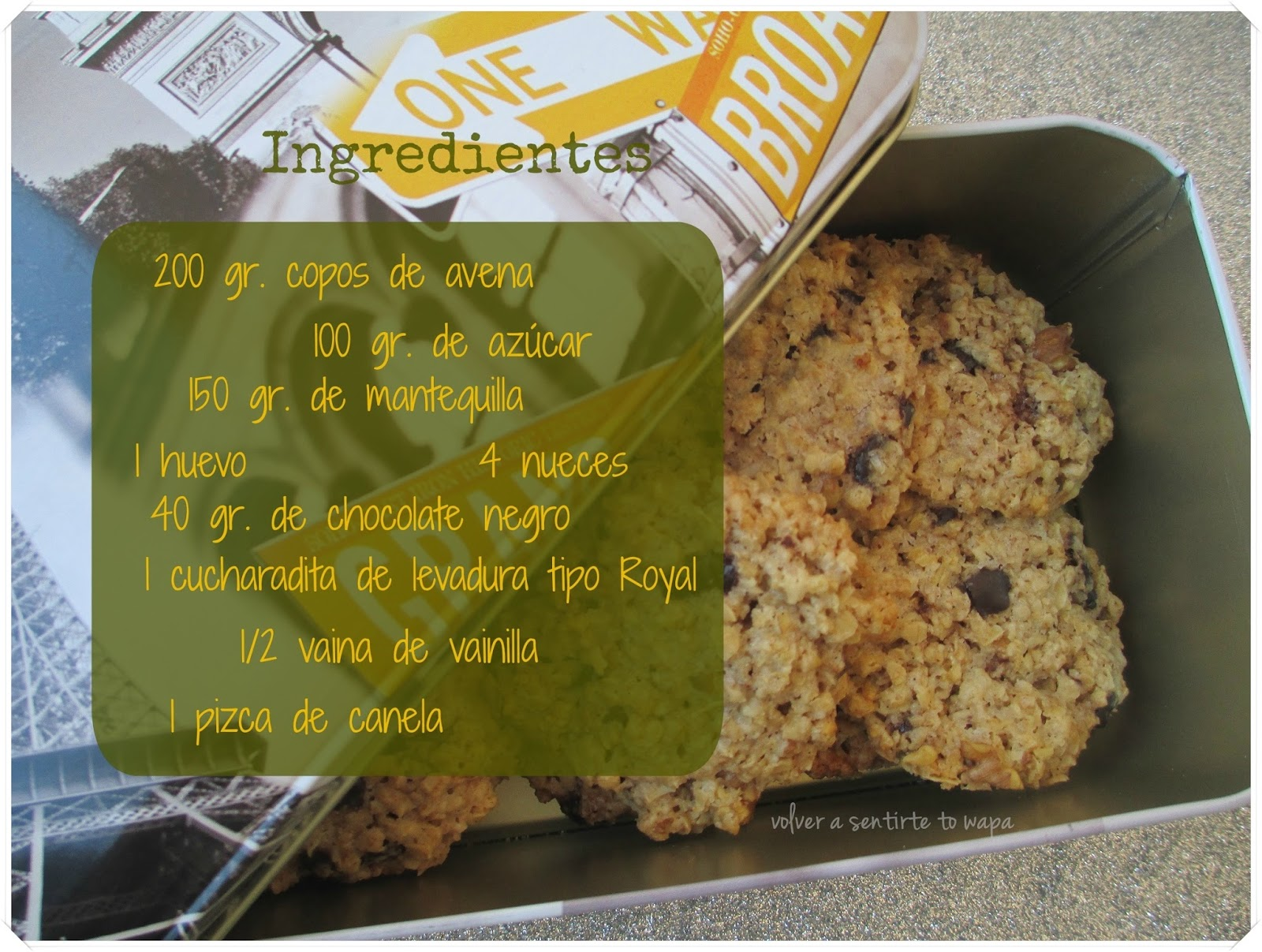 Receta: GALLETAS de AVENA - Ingredientes