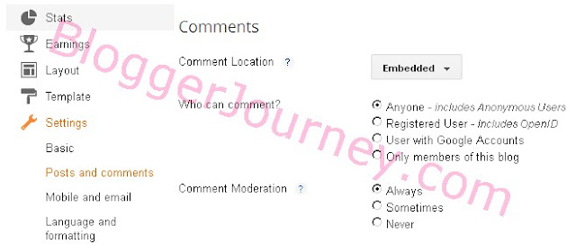 "screenshot: set Blogger (blogspot) Comments Location to ""Embedded"""