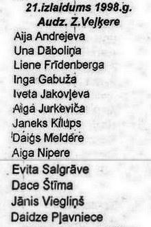 Valles vidusskolas 21. izlaidums 1998. gadā