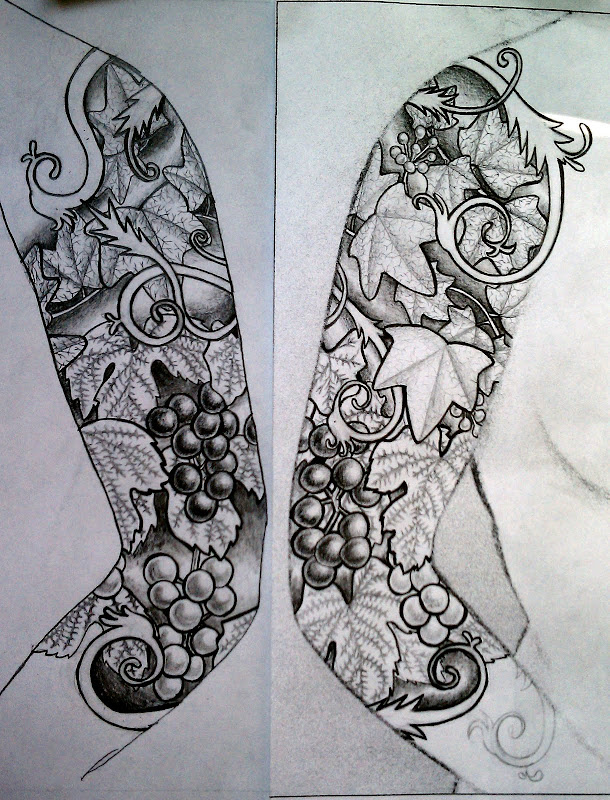 back and front of a sleeve design, graphite on printer paper, levels  title=