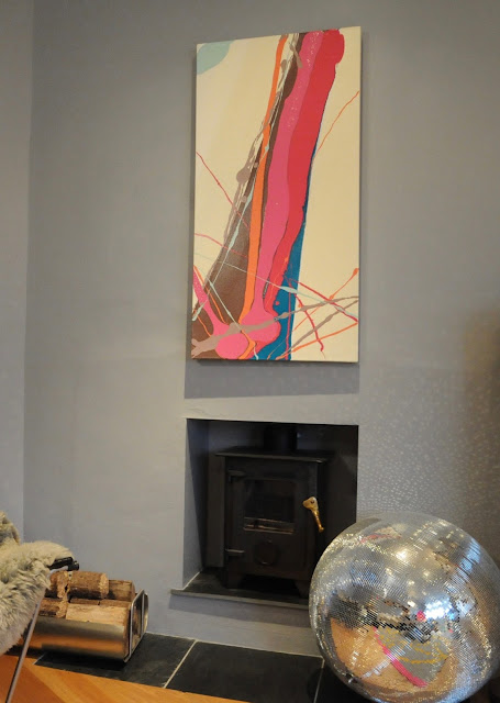 Trudie Moore Abstract Paintings Abstract Untitled 1 on grey wall