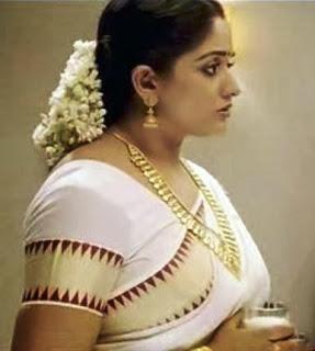 Malayalam actress Kavya Madhavan saree blouse