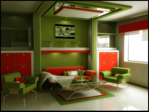 Great art decoration modern green living room for Modern living room green