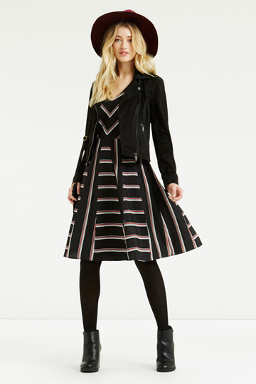 oasis black red stripe dress, chevron print dress,