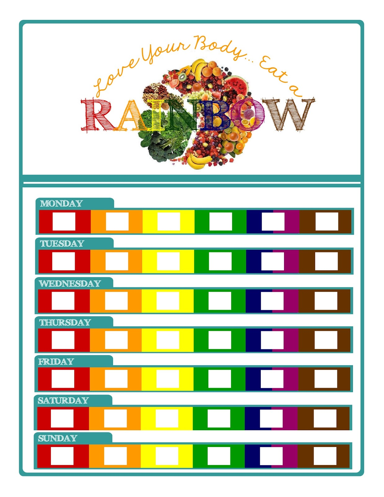 It is a photo of Sweet Printable Rainbow Food Chart