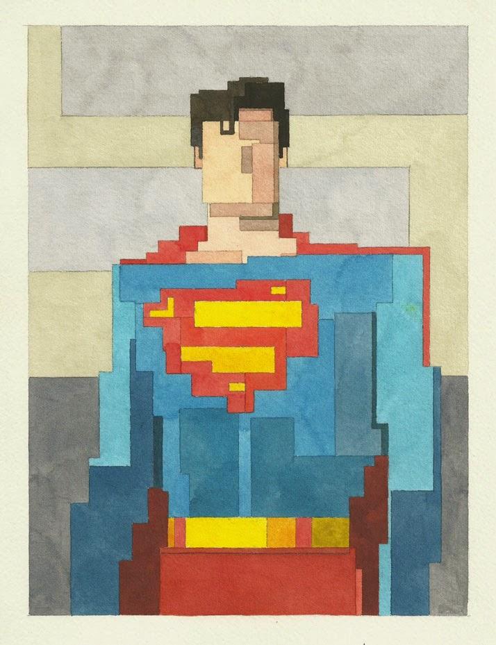 Adam Lister, acuarelas 8 bits, Superman