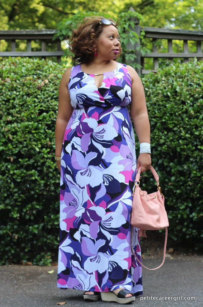Curvy, Petite Outfit Ideas | Professional and Casual-Chic Fashion and Style Inspiration | Floral Maxi Dress - (Weekend Style)