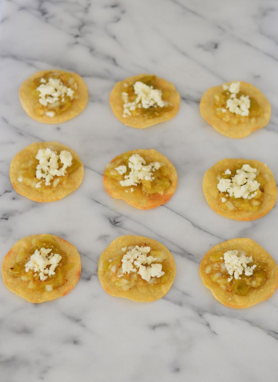 Mini Baked Roasted Tomatillo Tostada Appetizers a la @LucisMorsels