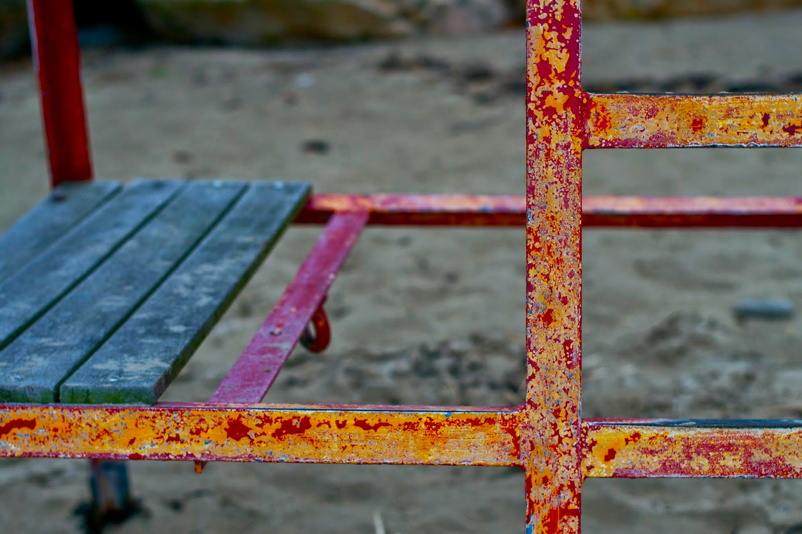 Lifeguard station, chipping paint.