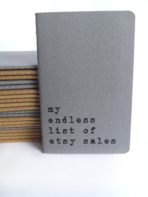 my endless list of etsy sales - screen printed Moleskine notebook by Alfamarama