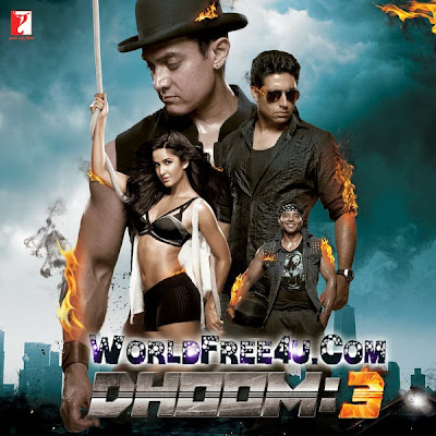 Poster Of Bollywood Movie Dhoom 3 (2013) 300MB Compressed Small Size Pc Movie Free Download worldfree4u.com