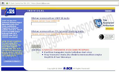tampilan individual internet banking bca
