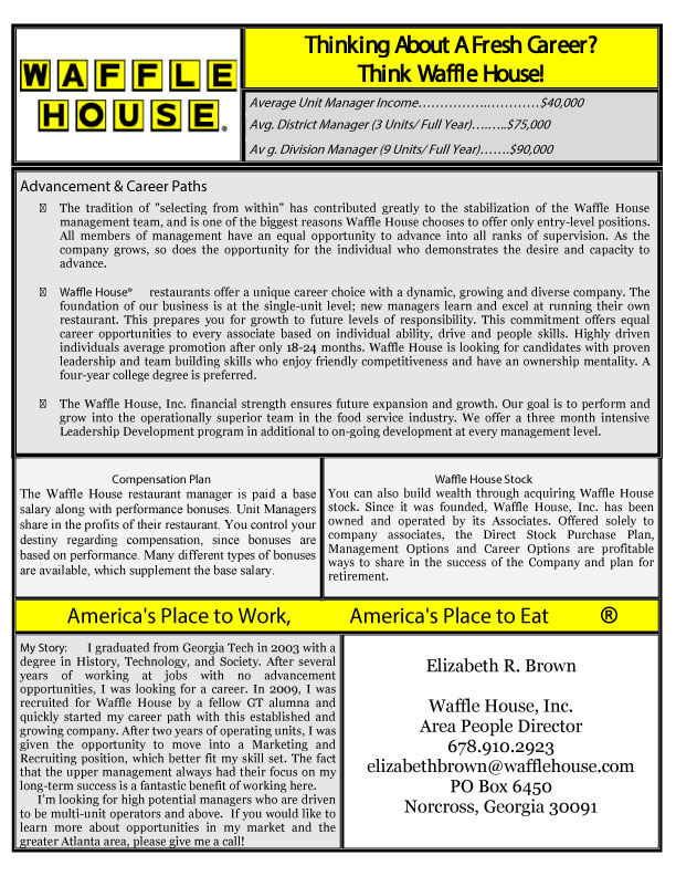 waffle house mission statement This is huddle house's mission statement locating huddle house near radford university poses many threats denny's and waffle house.