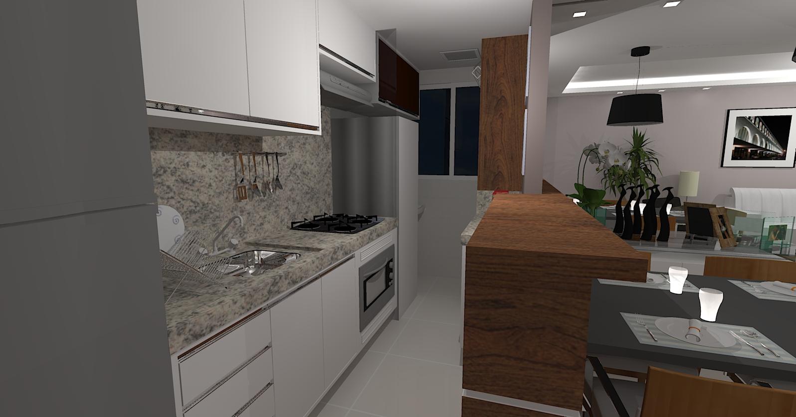 Arquitetas Associadas: Cozinha sala de Jantar e Sala de Tv integradas #5D493B 1596 838
