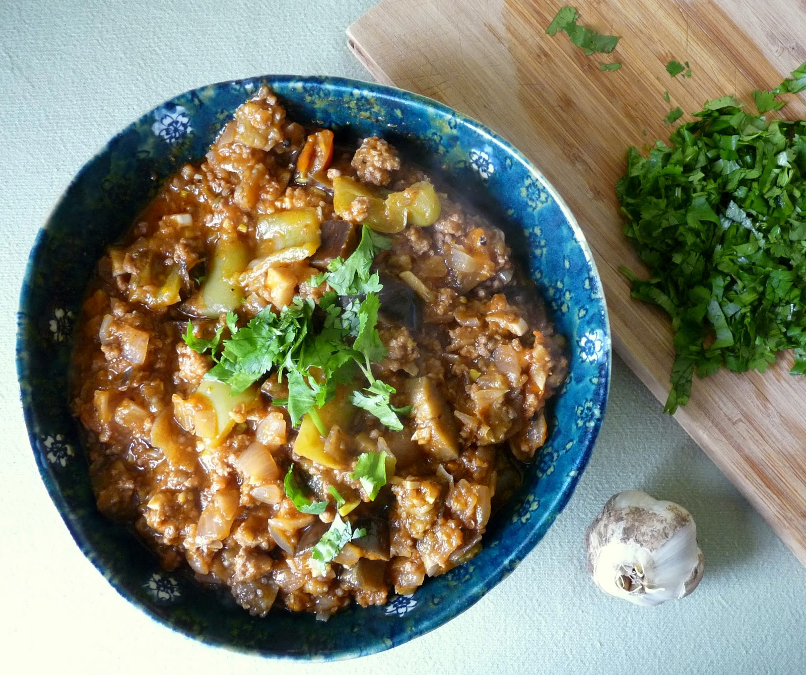 Lamb Stew with Eggplant & Peppers