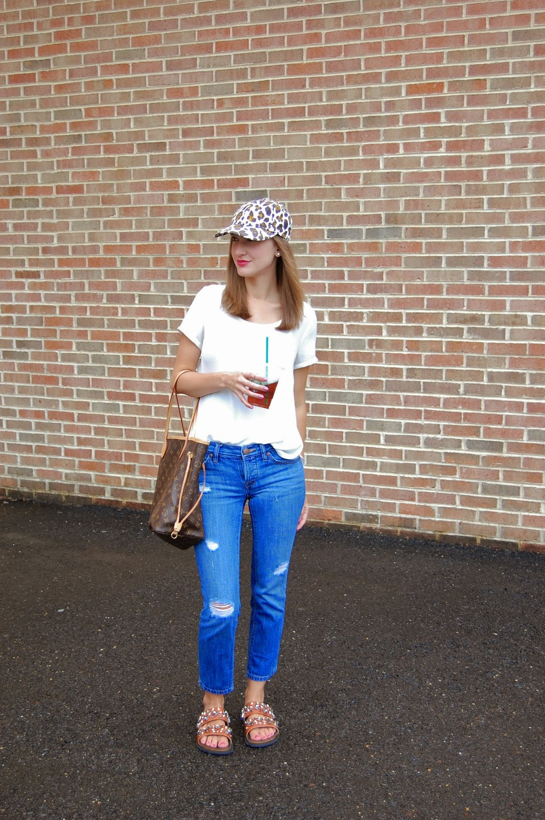Wearing Jcrew leopard print canvas hat, Nordstrom Lilly side slit tee, Loft boyfriend jeans, Zara leather bio with jewels sandals, Louis Vuitton Neverfull mm, casual weekend look 2014