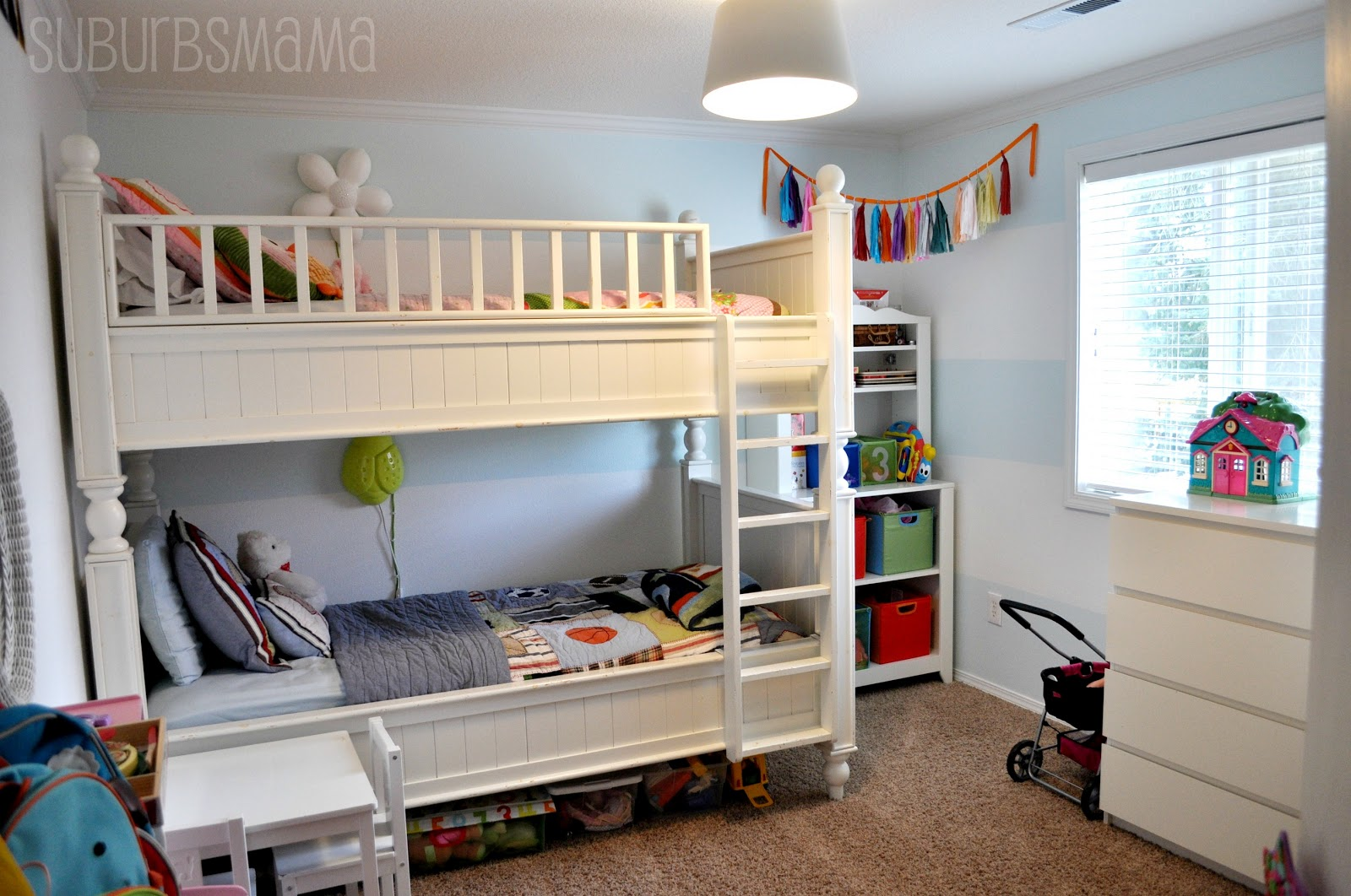 Suburbs mama new shared kids room tour for Bedroom ideas for girls sharing a room