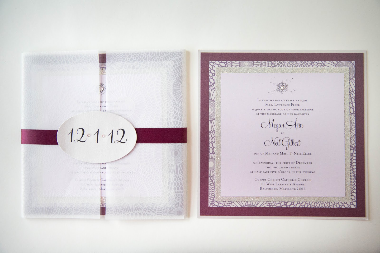 Winter Wedding Invitation • Custom Layered Card with Vellum Cover ...