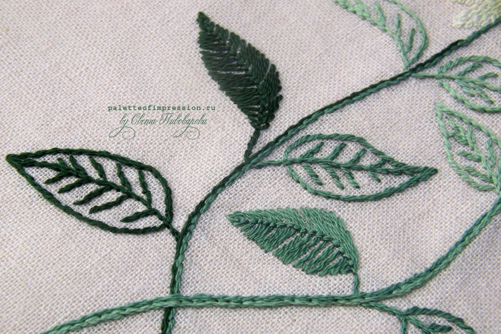 Бергамот. Монарда. Дизайн Herb Embroidery on Linen by Sadako Totsuka. Декоративная вышивка