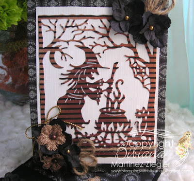 halloween twisted easel card front panel with petaloo flowers