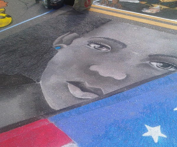 Patriotic Girl 1st of chalk drawing at Sarasota Chalk Festival by Noami Foster