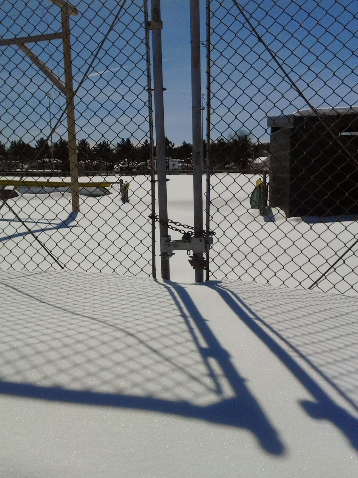Ely, MN, snow, baseball, field, march 2014