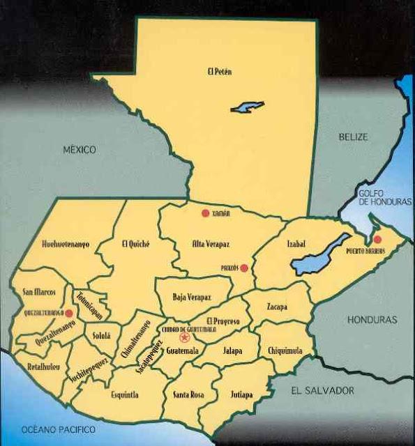 mapa de guatemala con sus departamentos
