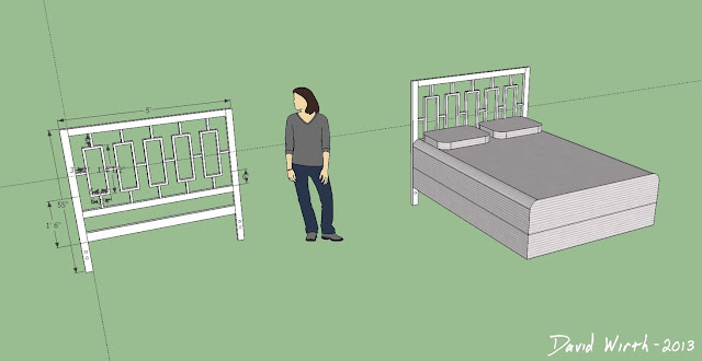 sketchup headboard, white, grid, geometric, build, easy, make, cheap
